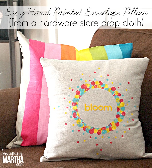 2+easy drop cloth envelope pillow 16 Spring Home Decor Projects 36