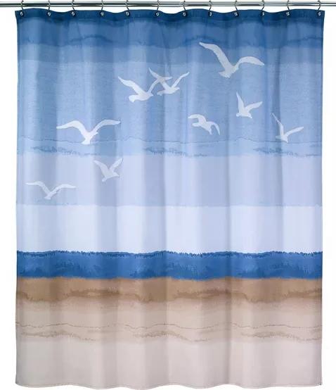 Beach Shower Curtain with Seagulls