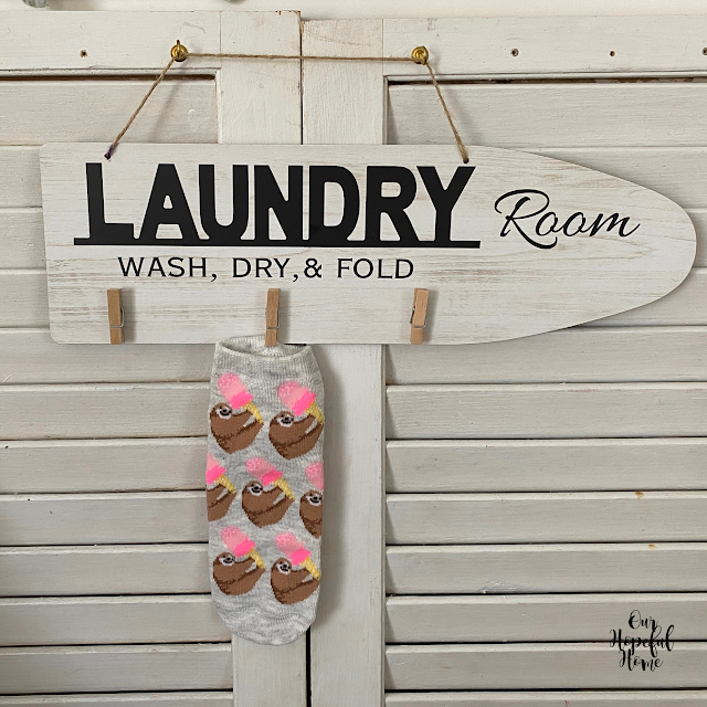 Laundry Room sign wooden clothes pins sloth sock
