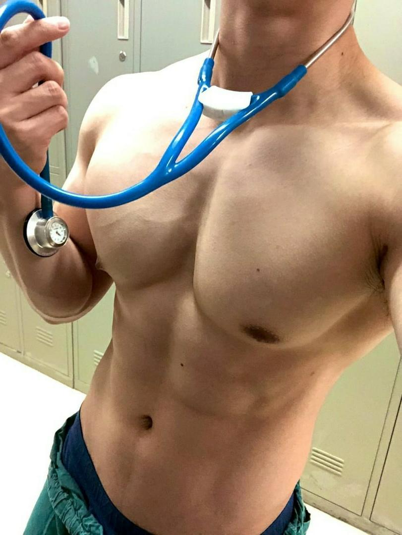 barechest-fit-male-doctor-nurse-muscle-body-selfie-at-work