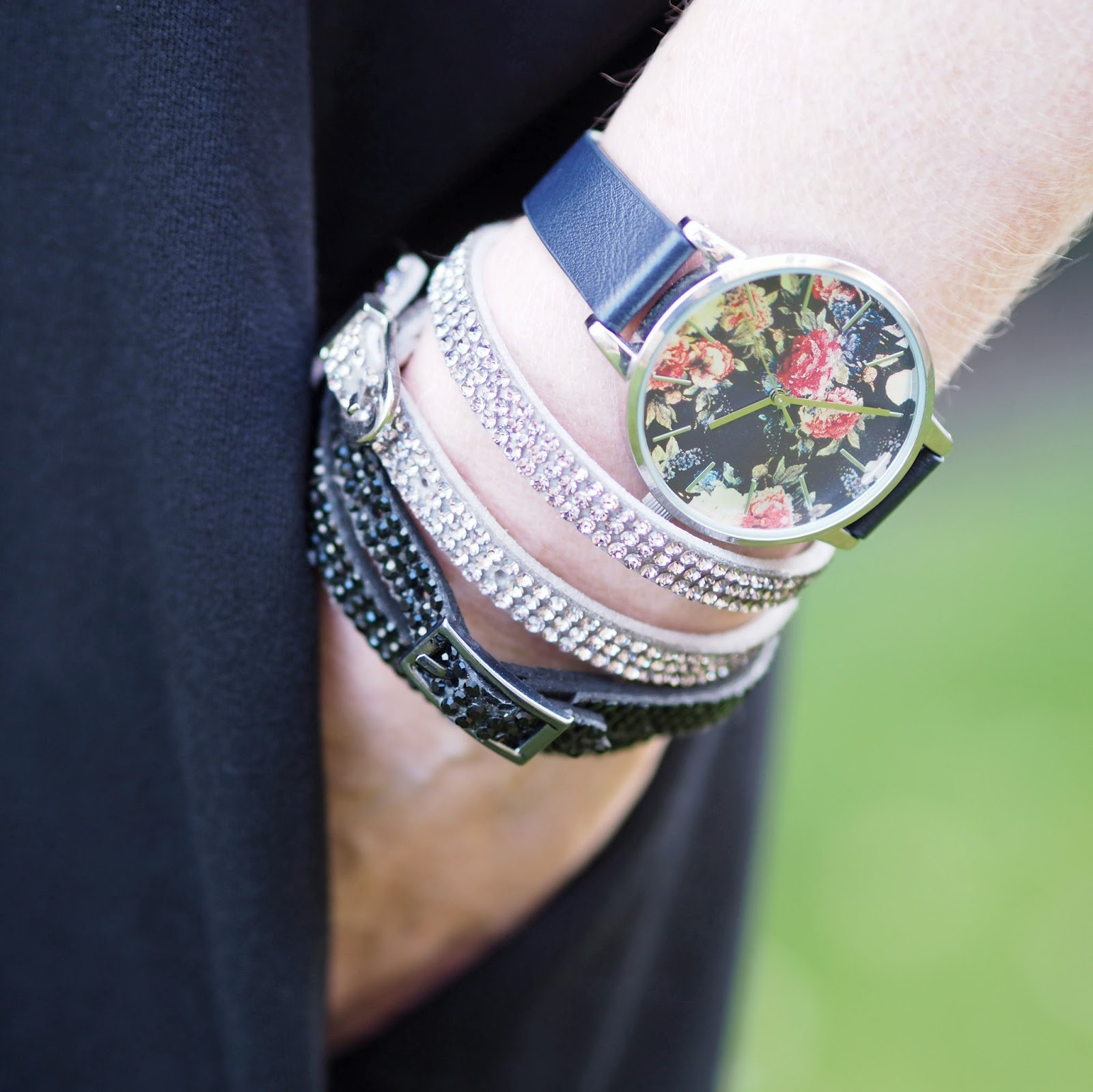 Black sparkly and silver sparkly wrap bracelets with buckle