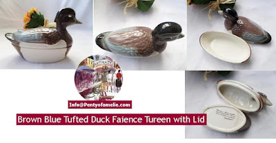 Nice vintage Tufted Duck Faience Tureen, majolica Duck lidded bowl hand decorated pate terrine dish in Blue, Brown, cream.