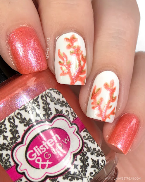 living coral nail art - 25 sweetpeas