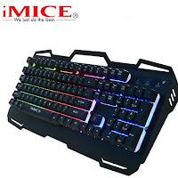 IMice de teclado cable USB Teclado retroiluminado 104 llaves jugador teclados de Panel de Metal con inglés y ruso para PC juego de ordenador