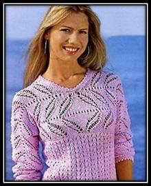 Letnii pulover svyazannii spicami s ajurnoi koketkoi i rukavami so shemoi uzora i opisaniem vyazaniya _ galkin dnevnik