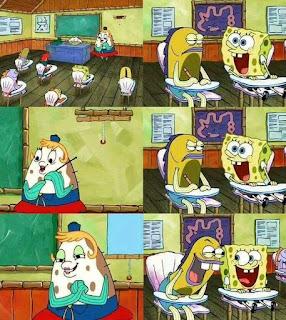 meme spongebob ngetawai nyonya puff