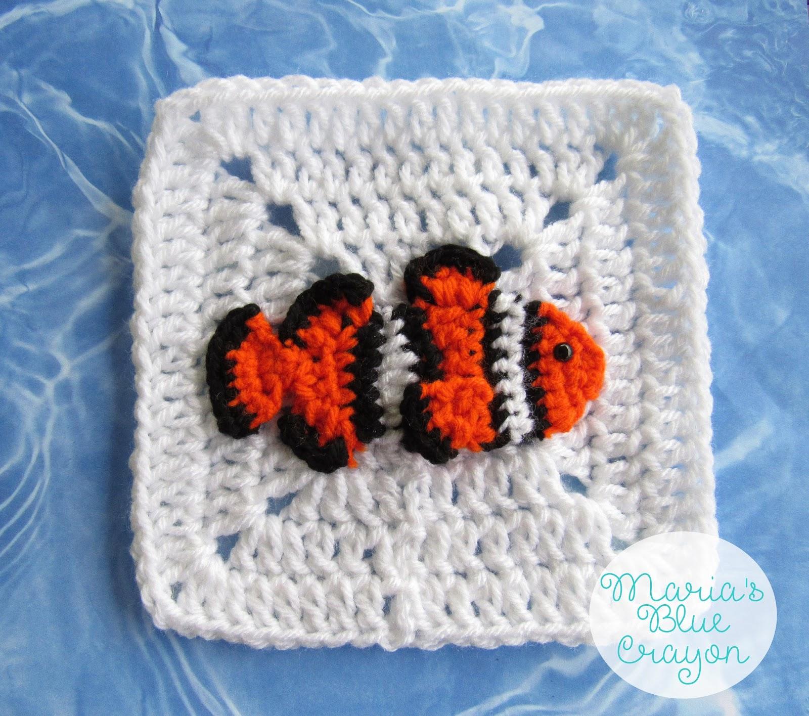 Crochet Clownfish Applique and Granny Square Free Crochet Pattern ...