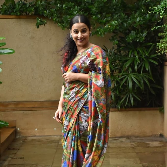 Bollywood Actress Vidya Balan Looks Beautiful in Saree During the Promotion of Her Latest Movie Sherni