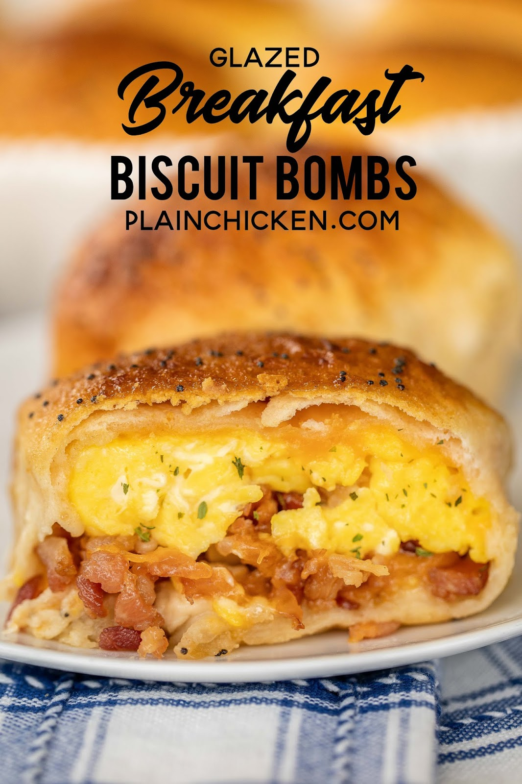 Glazed Breakfast Biscuit Bombs - the best way to start the day! Biscuits stuffed with scrambled eggs, bacon and cheese and topped with a sweet and savory glaze. We make these at least once a month! Refrigerated biscuits, milk, eggs, bacon, cheddar cheese, butter, brown sugar, dijon mustard, Worcestershire sauce and poppy seeds. A great dish for breakfast, brunch and overnight guests! #breakfast #biscuits