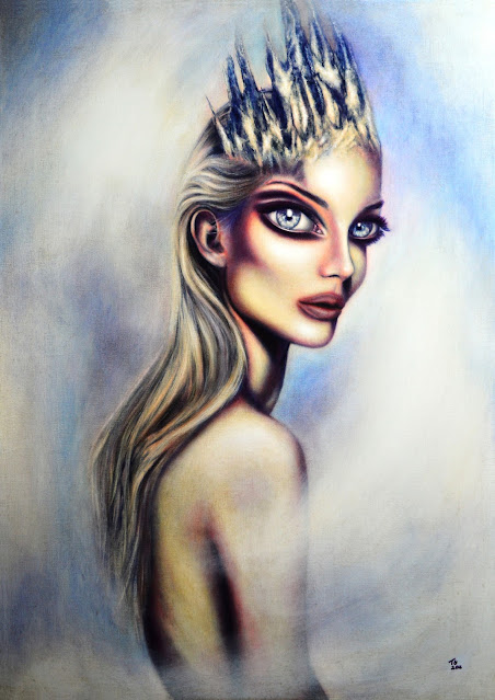 painting of the snow queen in a snow storm around her by tiago azevedo a lowbrow pop surrealism artist