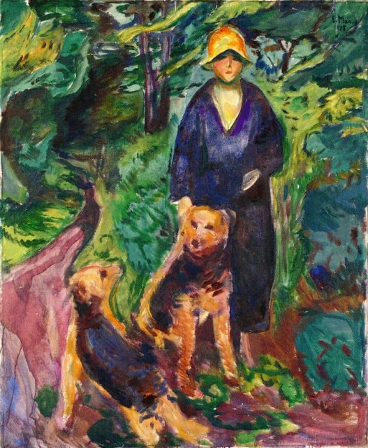 Edvard Munch s Woman With Airedale Painting
