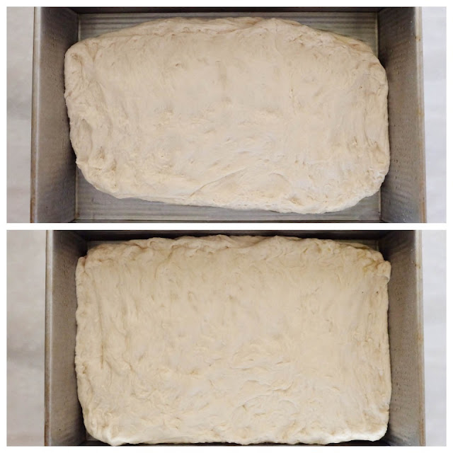 stretching pizza dough in baking pan