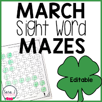 Shamrock Sight Word Mazes