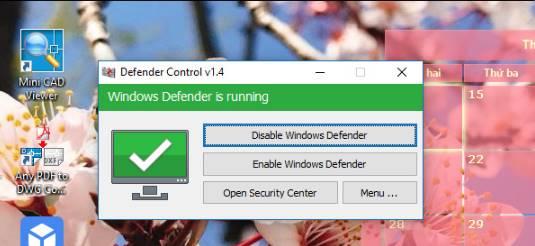 Menggunakan aplikasi defender-control