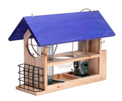 Outside Fun Charming Cedar Wood Deluxe Bird House Feeder