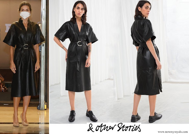 Queen Letizia wore &Other Stories Belted Leather Midi Dress