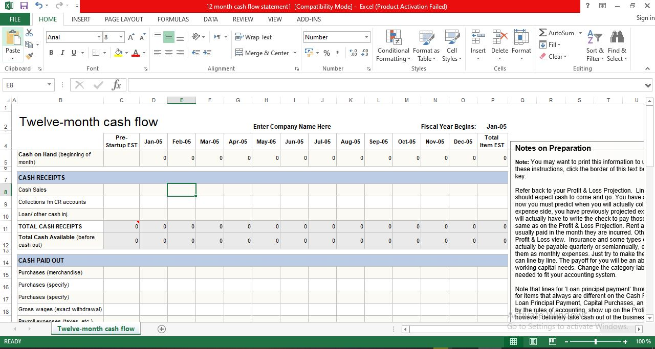 Twelve-month cash flow template excel