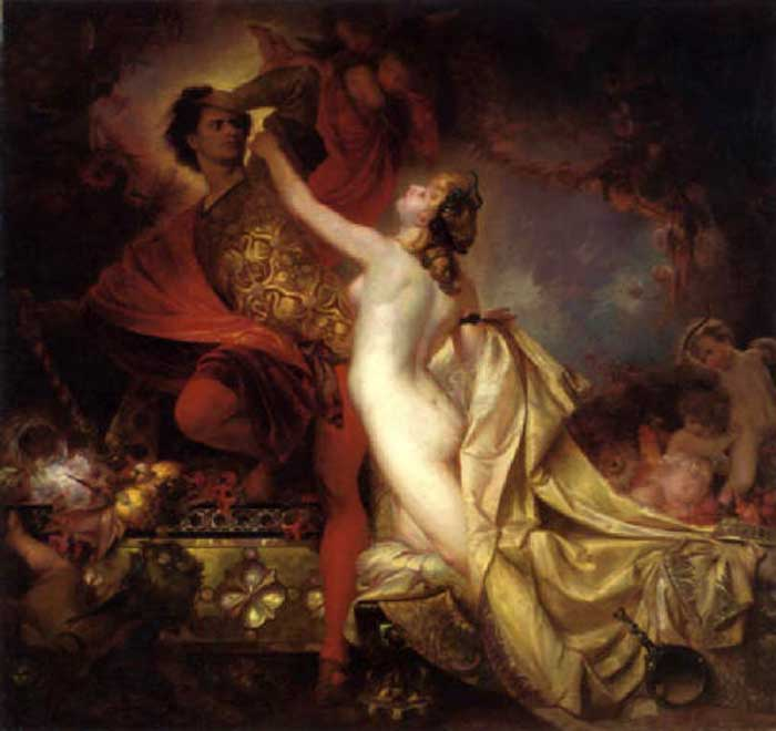 Joseph flees the advances of Potiphar's wIfe but she manage to grap part of his cloak, whlch falls off in his hasty retreat.