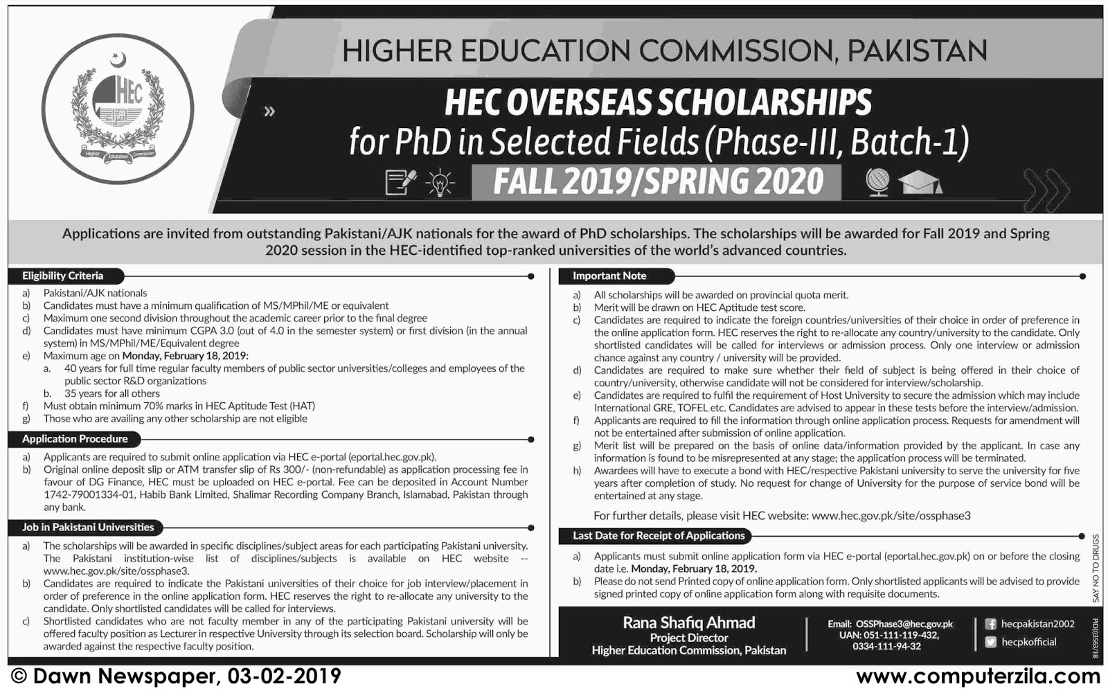 Higher Education Commission, Pakistan HEC Overseas Scholarships for PhD