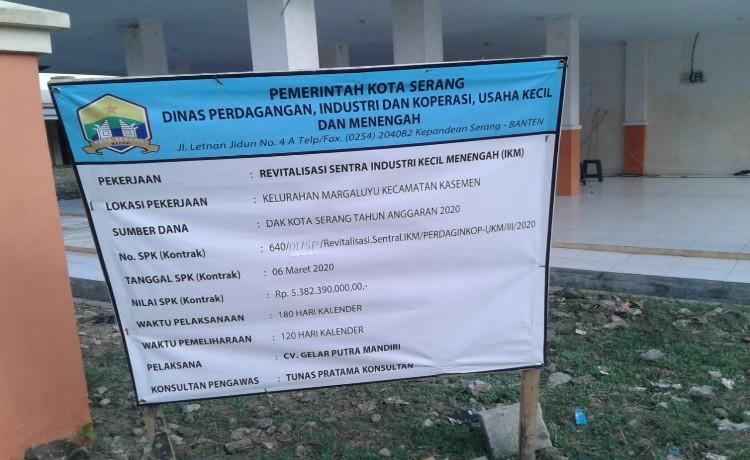 Pekerjaan Revitalisasi Sentra IKM Kelurahan Margaluyu Dipersoalkan