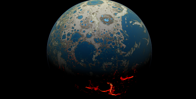 An artistic conception of the early Earth, showing a surface pummeled by large impact, resulting in extrusion of deep-seated magma onto the surface. Credits: Simone Marchi