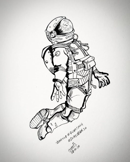 Astronaut Floating Sketch Art Drawn By pencil In White gradient Background On Paper Floating Pose Reference