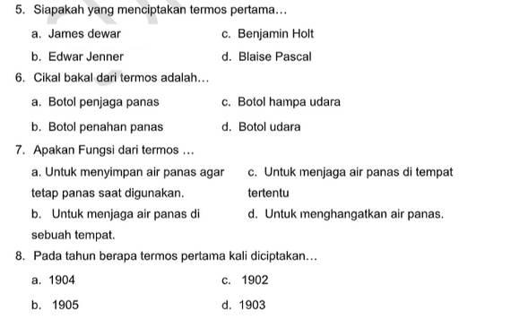 Soal PTS Kelas 5 Tema 7 Subtema 1 dan 2 dengan Kunci Jawaban