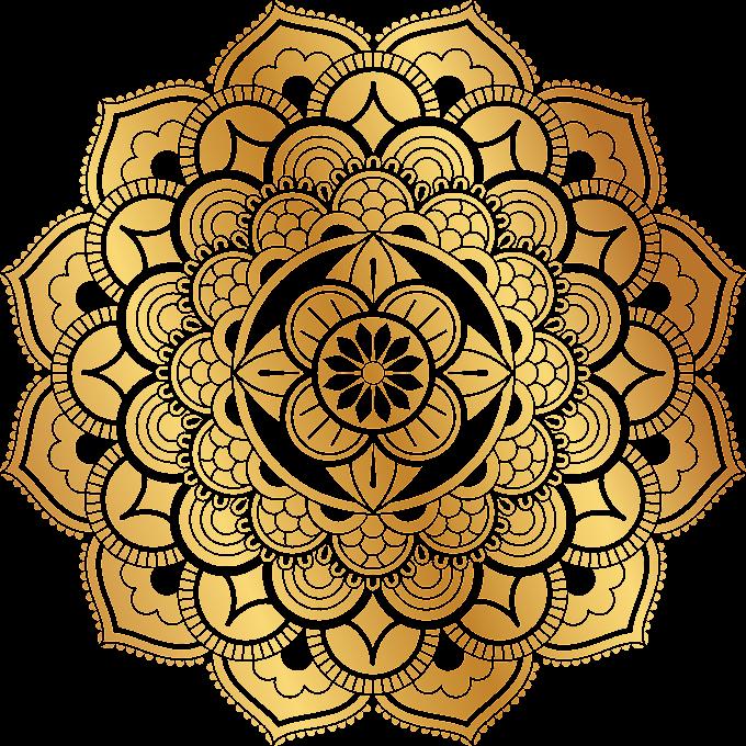 gold mandala sticker, Motif Pattern, Gold retro pattern, gold Coin, retro png by: pngkh.com