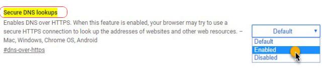 تفعيل تقنية DNS OVER HTTPS على متصفح Google Chrome