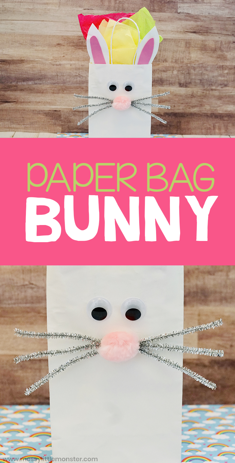 Paper bag bunny craft. Easy Easter craft for kids.