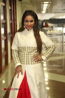 Telugu Actress Sri Reddy Mallidi Stills in White Beautiful Dress at Marriage Needs Bridal Fashion Week 2017 Logo Launch  0002.JPG