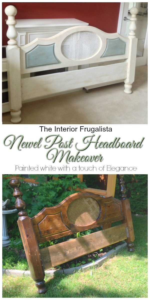 Newel Post Headboard Makeover Before and After