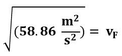 Calculando la velocidad en el punto F del ejemplo 2