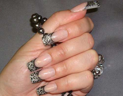 Colored French Tip Nails In Leopard Print
