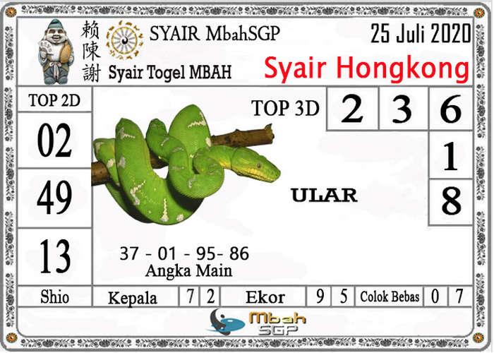Kode syair Hongkong Sabtu 25 Juli 2020 190