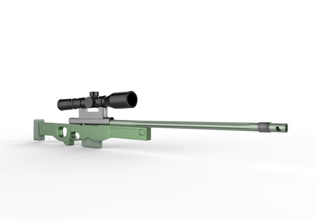 AWM Sniper Gun 3d model free download obj,maya,low poly