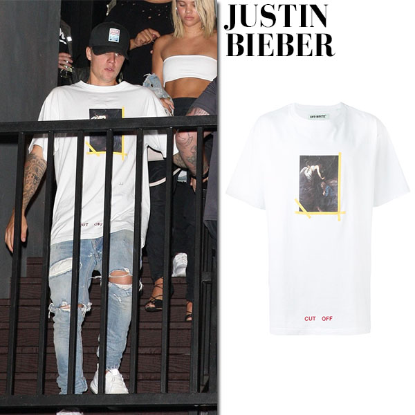 Justin Bieber in white painting print t-shirt at sofia richie birthday