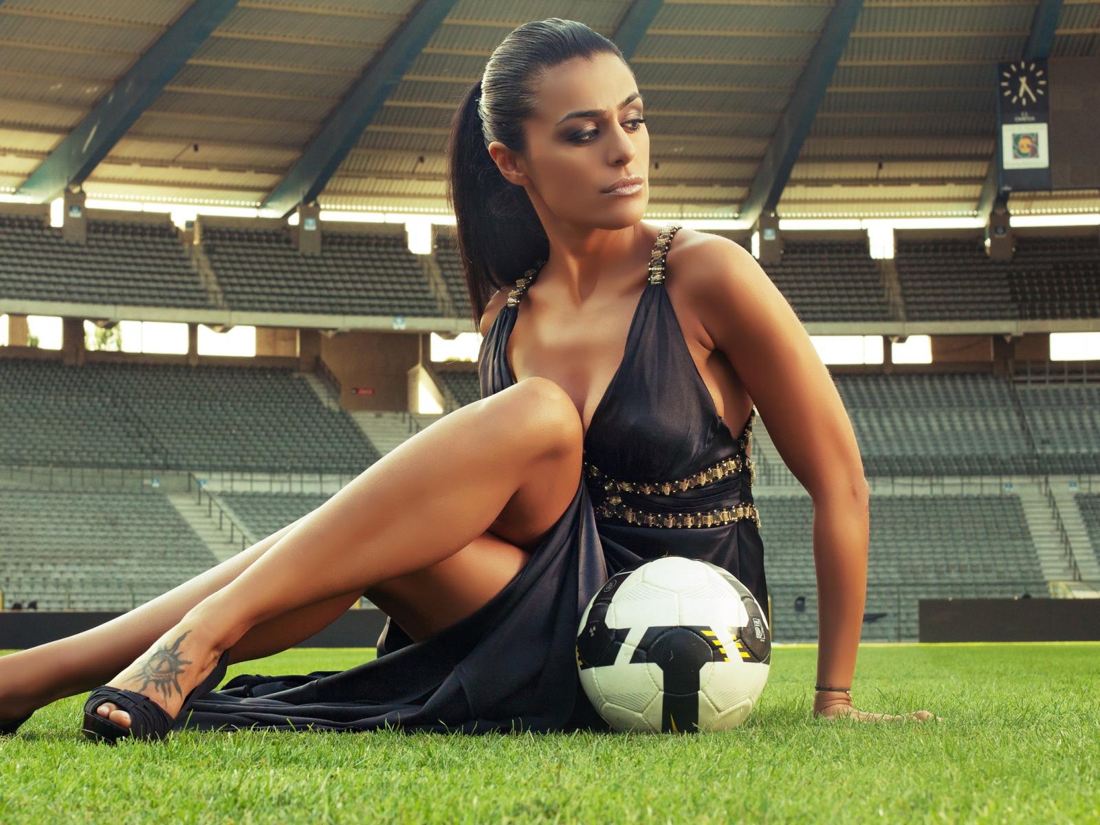 Hd Wallpapers Top 10 Football Girls Wallpapers: Soccer Football Girl With The Ball Stadium HD Desktop