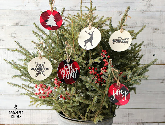 Stenciled Fabric Ornaments