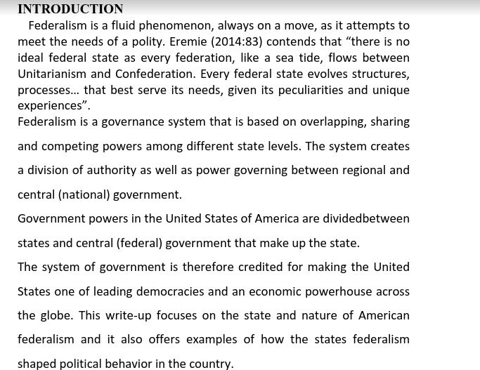 an overview of federalism Chapter review what is federalism and why does it matter levels of government and their degrees of autonomy federalism is a form of government that divides sovereign.