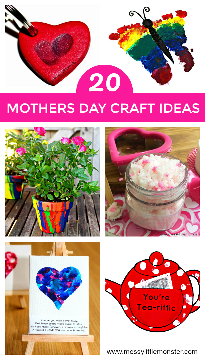 20 Mother's Day craft ideas for kids to make. Toddlers, preschoolers and older kids will love making these easy Mother's Day cards and homemade gifts.