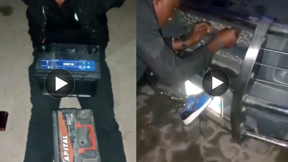 Man Caught Stealing Car Batteries With Shoe Lace In Lagos (Video)