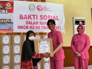 Peduli Sesama, Ketua Bhayangkari Dan Kabag Sumda Berbagi Tali Asih Peringati HUT Polwan Dan HKGB