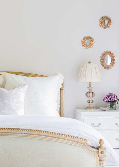 Gold and off-white French Bedroom | Alyssa Rosenheck Photography