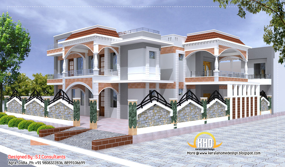 Indian home design with plan 5100 sq ft kerala home for Www indian home design plan com