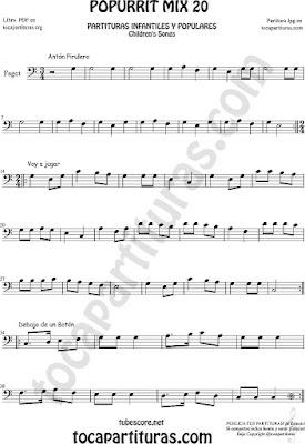 Partitura de Fagot Popurrí Mix 20 Partituras de Antón Pirulero, Voy a Jugar, Debajo de un Botón Infantil Sheet Music for Bassoon Music Scores