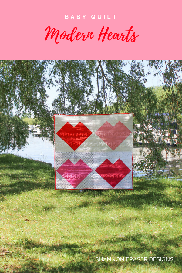 Modern Heart Baby Quilt | Q3 2018 Finish-A-long Proposed Projects | Shannon Fraser Designs