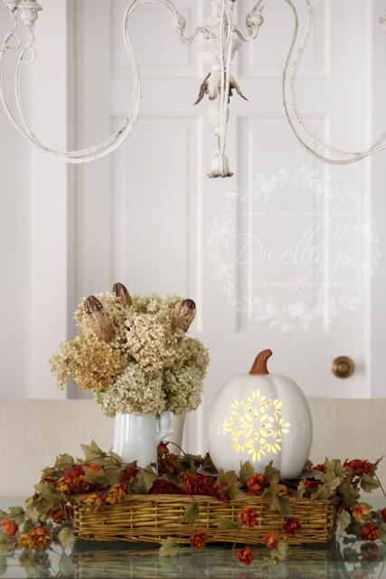 Fall Centerpiece in the keeping room ... Fall Home Tour 2015 ~ DWELLINGS - The Heart of Your Home
