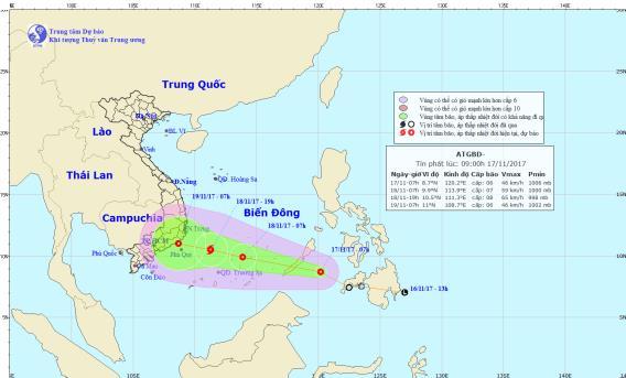 Áp thấp nhiệt đới khả năng mạnh thành bão, các tỉnh từ Khánh Hòa đến Bến Tre cần đặc biệt chú ý đề phòng