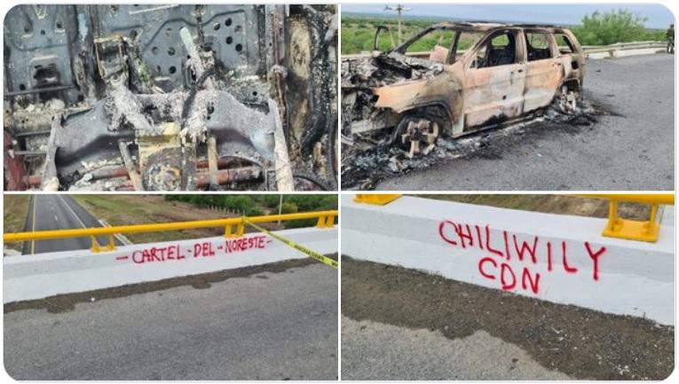 Fotos: Sicarios del Cartel del Noreste ejecutan a hombre y lo queman con todo y camioneta